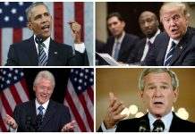 Barack Obama, Donald Trump, Bill Clinto y George W. Bush