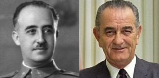 El general Francisco Franco y el presidente de los Estados Unidos Lyndon B. Johson.